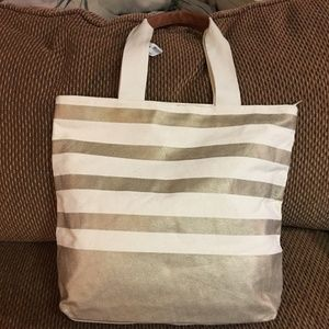 BATH & BODY WORKS Striped Canvas Zip Top Tote